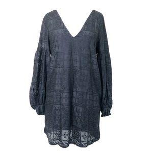 NWT Capulet Black Embroidered Shift Dress Sz M